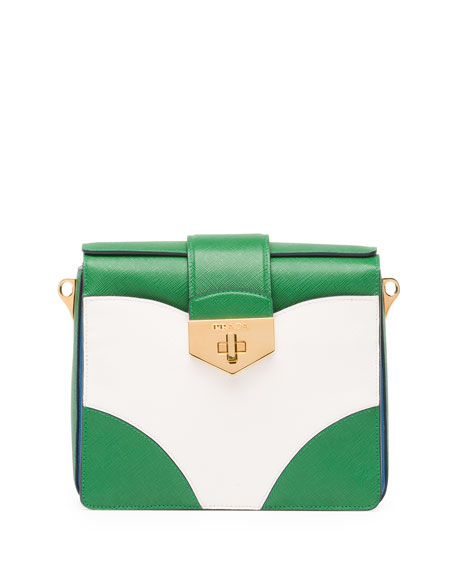 Bicolor Saffiano Turn Lock Shoulder Bag, Green/White/Blue (Verde+Bianco+Cobalto)