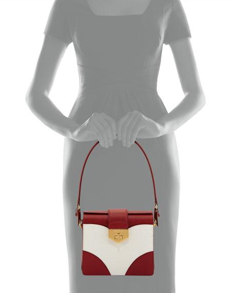 Tricolor Saffiano Turn-Lock Shoulder Bag, Red/White (Fuoco+Bianco)