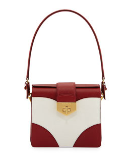 Prada Tricolor Saffiano Turn-Lock Satchel Bag, Red/White (Fuoco+Bianco)