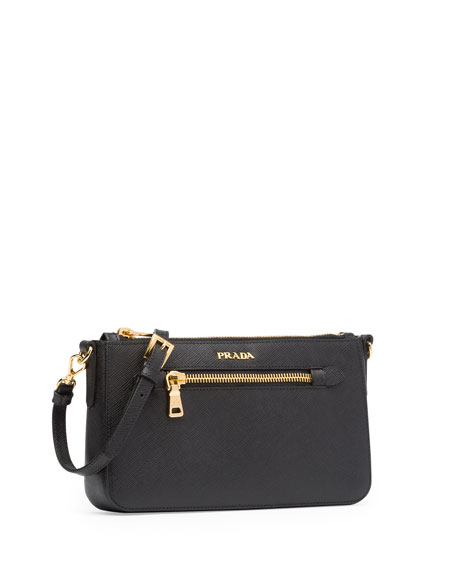 Saffiano Small Zip Crossbody Bag, Black (Nero)