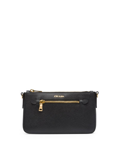 Prada Saffiano Small Zip Crossbody Bag, Black (Nero)