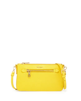 Prada Saffiano Small Zip Pockets Crossbody Bag, Yellow (Girasole)
