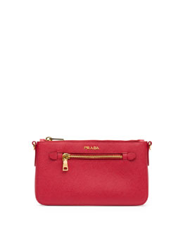 Prada Saffiano Small Zip Crossbody Bag, Red (Fuoco)