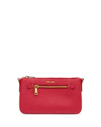 Prada Saffiano Small Zip Crossbody Bag, Red (Fuoco)