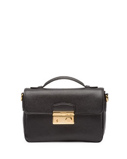 Prada Saffiano Small Crossbody Bag, Black (Nero)