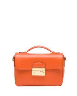 Prada Saffiano Small Crossbody Bag, Orange (Papaya)