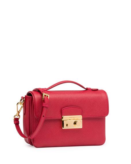 Saffiano Small Crossbody Bag, Red (Fuoco)