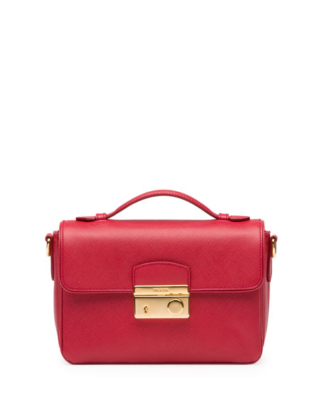 Prada Saffiano Small Crossbody Bag, Red (Fuoco)