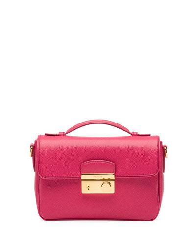 Prada Saffiano Small Crossbody Bag, Pink (Peonia)