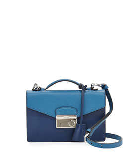 Prada Bicolor Saffiano Crossbody Clutch, Blue Multi (Bluette+Cobalto)