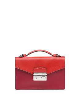 Prada Bicolor Saffiano Crossbody Clutch, Red/Orange (Fuoco+Lacca)