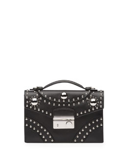 Prada Studded Saffiano Crossbody Clutch, Black (Nero)