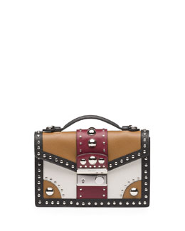 Prada Studded Saffiano Crossbody Clutch, Brown/Red (Caramel+Cerise)