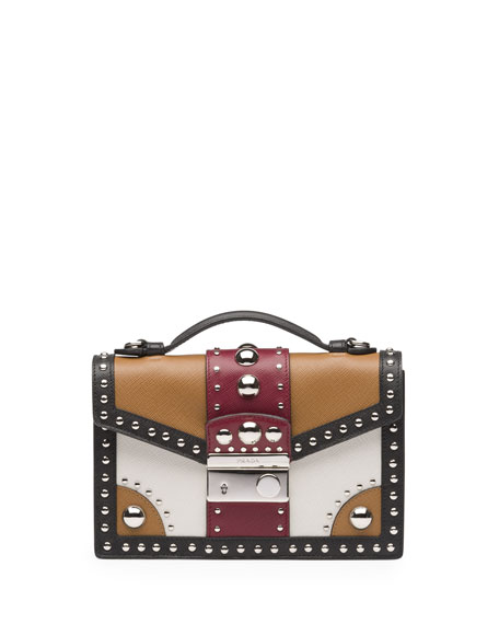 Studded Saffiano Crossbody Clutch, Brown/Red (Caramel+Cerise)