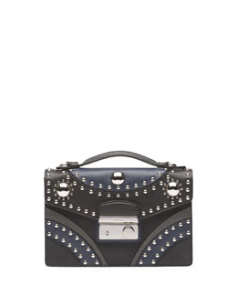 Prada Studded Saffiano Crossbody Clutch, Black/Blue (Nero+Baltico)