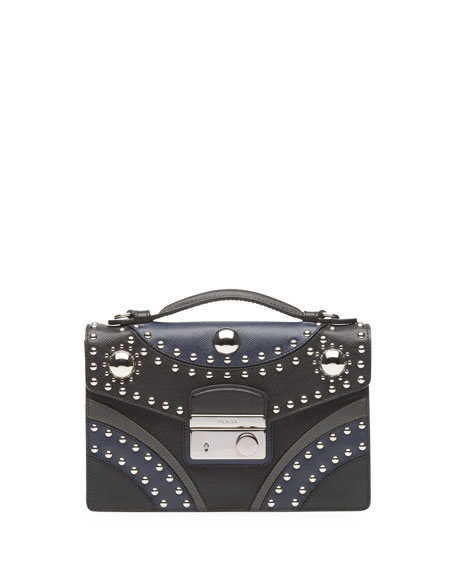 Studded Saffiano Crossbody Clutch, Black/Blue (Nero+Baltico)