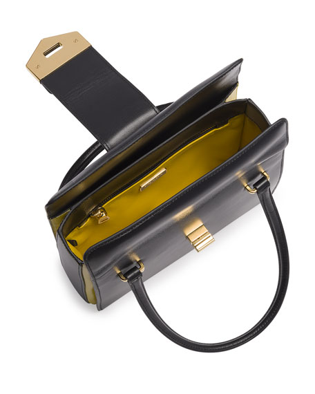 Bicolor Box Calf Small Turnlock Satchel Bag, Black/Yellow (Nero+Girasole)