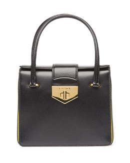 Prada Bicolor Box Calf Small Turnlock Satchel Bag, Black/Yellow (Nero+Girasole)