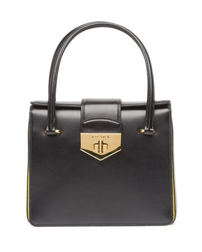 Prada Bicolor Box Calf Small Turnlock Satchel Bag, Black/Yellow (Nero+Girasole)