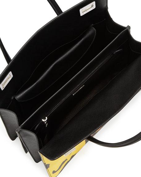 Saffiano Print Satchel Bag, Black Multi (Ginestra)