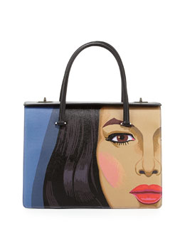 Prada Girl-Print Saffiano Satchel Bag, Multi (Viola+Nero)