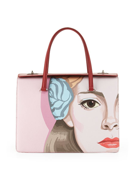 Saffiano Print Satchel Bag, Off White/Red (Alabastro+Fuoco)