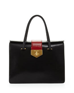 Prada Bicolor Box Calf Satchel, Black/White/Red (Nero+Talco+Russo)