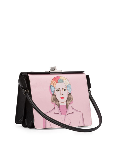 Saffiano Print Shoulder Bag, Off White/Black (Alabastro+Nero)