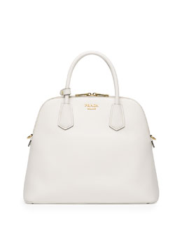 Prada Saffiano Cuir Large Dome Satchel Bag, White (Bianco)