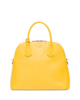 Prada Saffiano Cuir Dome Satchel Bag, Yellow (Giallo)
