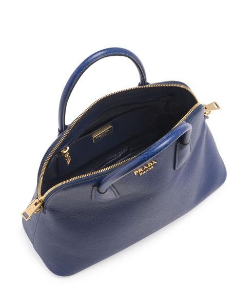 Saffiano Cuir Large Dome Satchel Bag, Blue (Bluette)