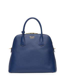 Prada Saffiano Cuir Large Dome Satchel Bag, Blue (Bluette)