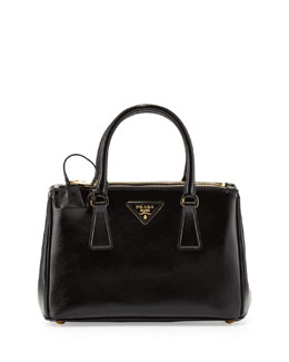 Prada Saffiano Vernice Mini Double-Zip Crossbody Bag, Black (Nero)