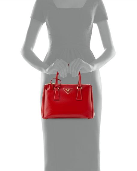 Saffiano Double-Zip Mini Crossbody, Red (Rosso)
