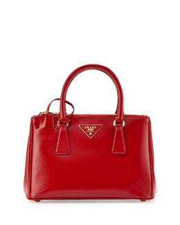 Prada Saffiano Double-Zip Mini Crossbody, Red (Rosso)