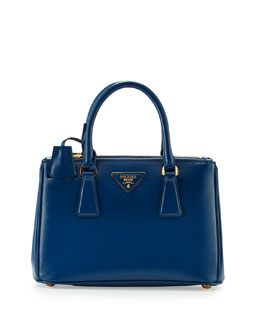 Prada Saffiano Vernice Mini Double-Zip Crossbody Bag, Blue (Cobalto)