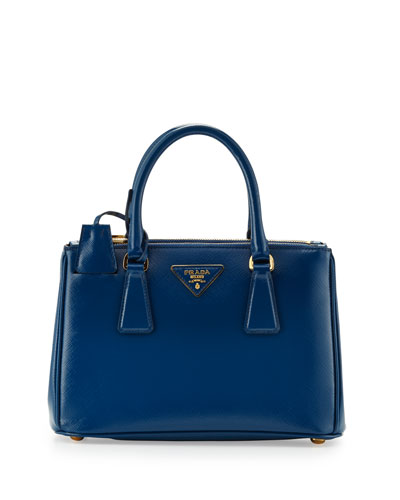 Prada Saffiano Double-Zip Mini Crossbody, Blue (Cobalto)