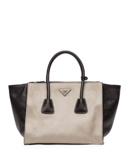 Prada Bicolor Glace Calf Twin Pocket Tote Bag, Gray/Black (Pomice+Nero)