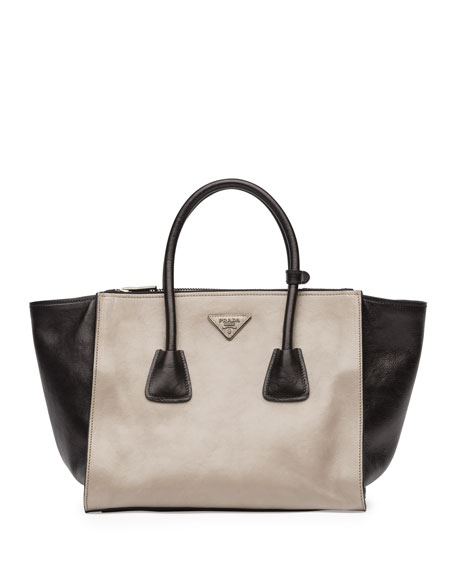Bicolor Glace Calf Twin Pocket Tote Bag, Gray/Black (Pomice+Nero)