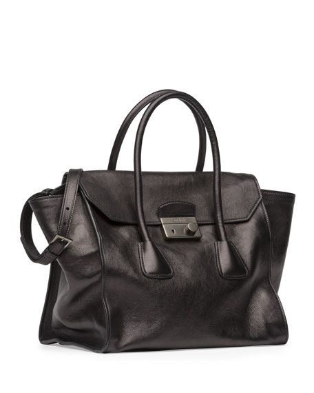Glace Calf Large Twin Pocket Tote Bag,  Black (Nero)