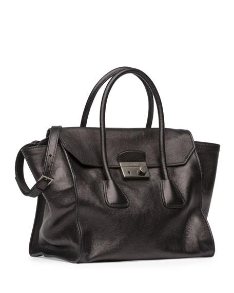 Glace Calf Large Twin Pocket Tote Bag,  Black (Nero)