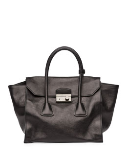 Prada Glace Calf Large Twin Pocket Tote Bag,  Black (Nero)
