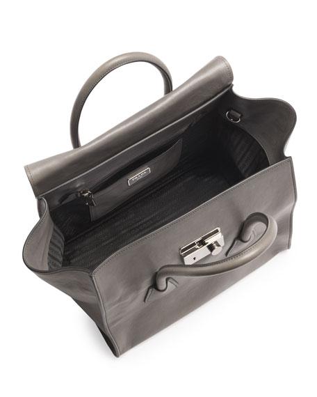 Glace Calf Large Twin Pocket Tote Bag, Gray (Marmo)