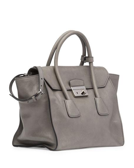 e4f7a83daedf77 Prada Glace Calf Large Twin Pocket Tote Bag, Gray (Marmo)
