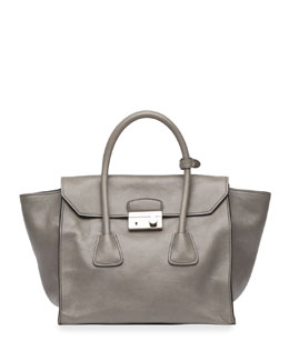 Prada Glace Calf Large Twin Pocket Tote Bag, Gray (Marmo)