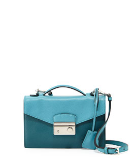 Prada Saffiano Bicolor Small Flap Crossbody Bag, Turquoise