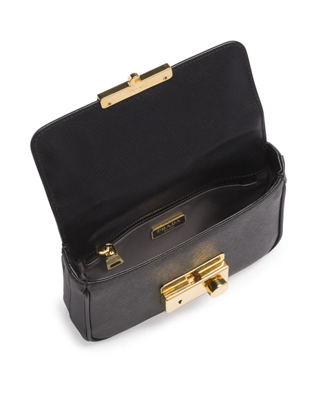 Prada Saffiano Mini Crossbody Clutch, Black (Nero) - Prada clutch black