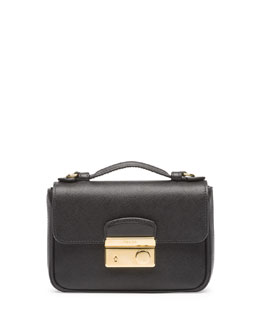 Prada Saffiano Mini Crossbody Clutch, Black (Nero)