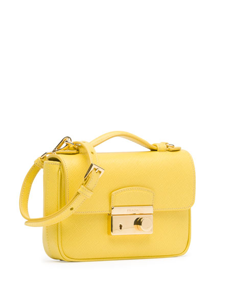 pink leather prada handbags - Prada Saffiano Mini Crossbody Clutch, Yellow (Girasole)