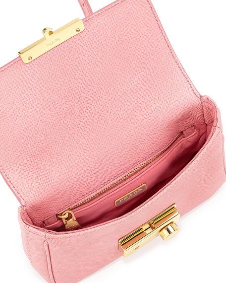 Saffiano Mini Crossbody Clutch, Fuchsia (Geranio)